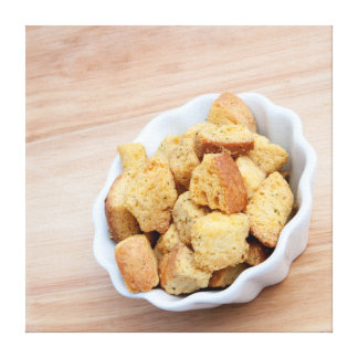Salad Croutons in a bowl Canvas Print
