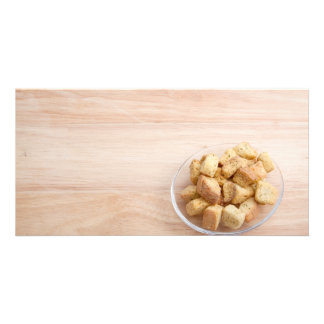 Salad Croutons on a plate Card