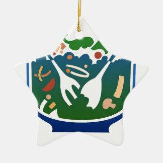 Salad Double-Sided Star Ceramic Christmas Ornament