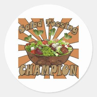 Salad Tossing Champion Classic Round Sticker