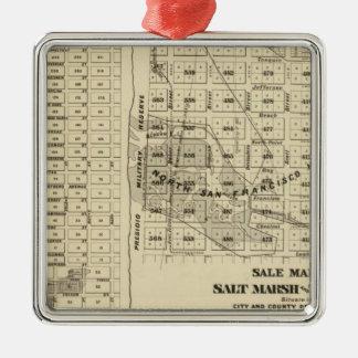 Saladar 2 de San Francisco Bay Adorno Cuadrado Plateado