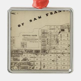Saladar de San Francisco Bay Adorno Cuadrado Plateado