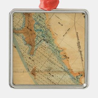 Saladar y mapa de las tierras de la marea adorno cuadrado plateado