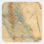 Saladar y mapa de las tierras de la marea pegatina cuadrada