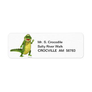 Salado las etiquetas del remite del cocodrilo etiqueta de remite