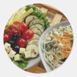 Salads dining alfresco round stickers