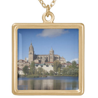 Salamanca Cathedrals and town 2 Square Pendant Necklace