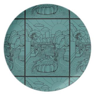 Salamander Barton Creek Line Art Design Melamine Plate