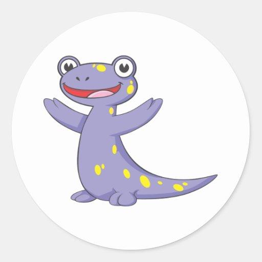 Salamander manchado feliz pegatina redonda