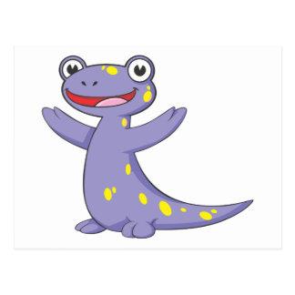 Salamander manchado feliz tarjeta postal