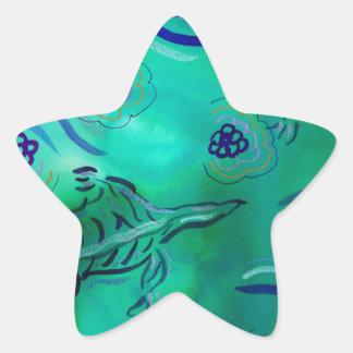 Salamanders verdes pegatina en forma de estrella