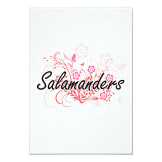 Salamanders with flowers background 3.5x5 paper invitation card