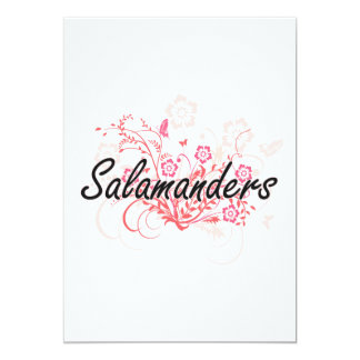Salamanders with flowers background 5x7 paper invitation card