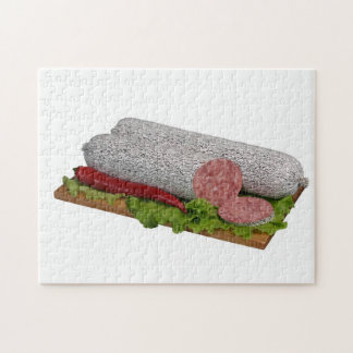 Salami on wooden board. jigsaw puzzle