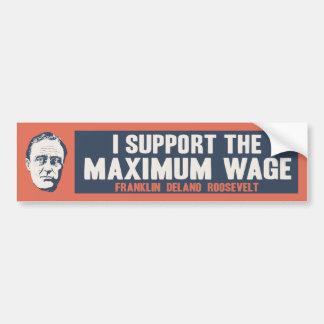 Salario máximo del FDR Etiqueta De Parachoque