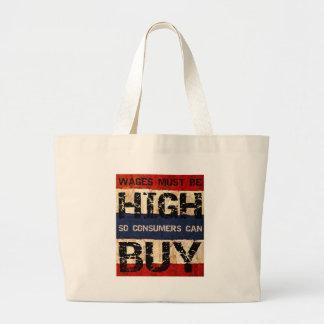 Salarios altos bolsa tela grande