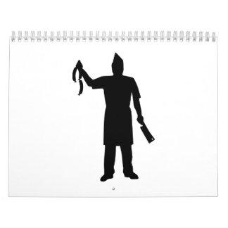 Salchicha de la cuchilla del carnicero calendario