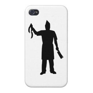 Salchicha de la cuchilla del carnicero iPhone 4 carcasas
