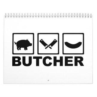 Salchicha de la cuchilla del cerdo del carnicero calendario