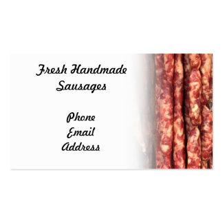 Salchichas hechas a mano frescas tarjetas de visita