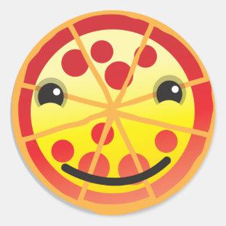 ¡salchichones lindos de la pizza! etiqueta redonda