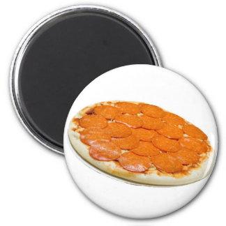 Salchichones y pizza de queso crudos imán redondo 5 cm