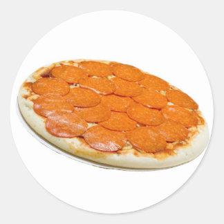 Salchichones y pizza de queso crudos pegatinas redondas