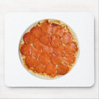 Salchichones y pizza de queso crudos alfombrillas de ratones