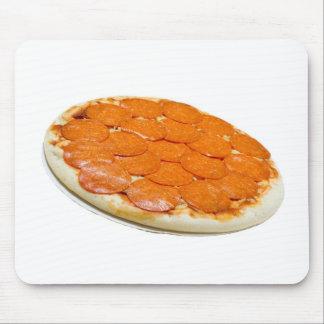Salchichones y pizza de queso crudos tapete de ratón