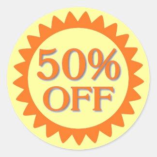 Sale 50 percent off yellow orange circle stickers