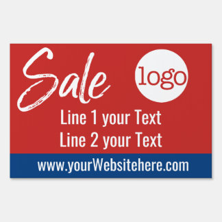 Sale Advertisement - Add Logo and Details Red Blue Sign