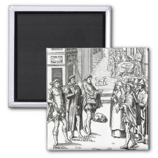 Sale by Town Crier, after a woodcut in 'Praxis Rer 2 Inch Square Magnet
