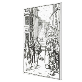 Sale by Town Crier, after a woodcut in 'Praxis Rer Canvas Print