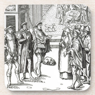 Sale by Town Crier, after a woodcut in 'Praxis Rer Drink Coaster