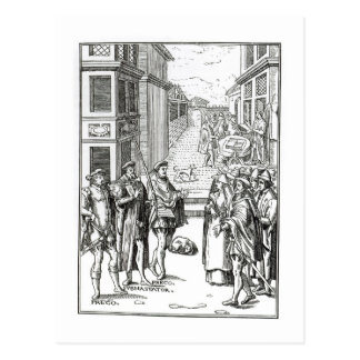 Sale by Town Crier, after a woodcut in 'Praxis Rer Postcard