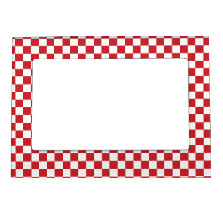 SALE -Groovy Retro Red Check Magnetic Fridge Frame