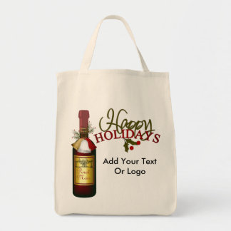 SALE Holiday Wine Tote Bag