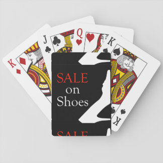 Sale on shoes with silhouette of a shoe playing cards