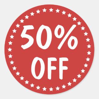 Sale Percent Off Retail White Stars Classic Round Sticker