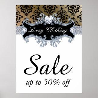 Sale Retail Fashion Jewelry Poster damask satin