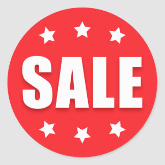 Sale retail stickers with stars, red and white