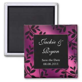 SALE!  Save the Date Magnet Leaves Pink Purple
