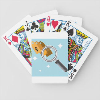 Sale Tags under magnifying glass vector Bicycle Playing Cards