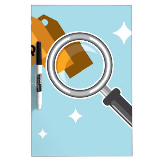Sale Tags under magnifying glass vector Dry-Erase Board