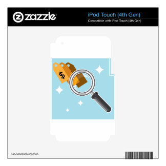 Sale Tags under magnifying glass vector iPod Touch 4G Skins