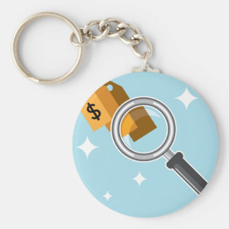 Sale Tags under magnifying glass vector Keychain