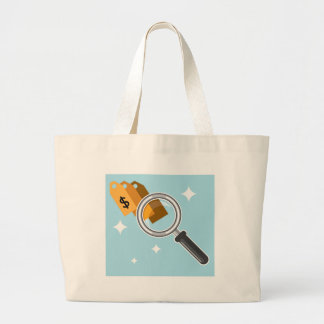 Sale Tags under magnifying glass vector Large Tote Bag