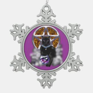 salem cat (color) snowflake pewter christmas ornament