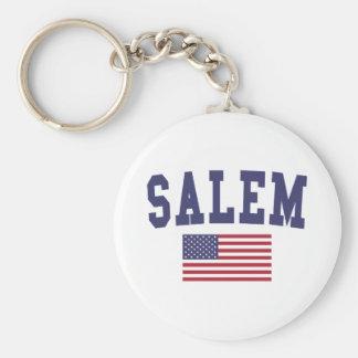Salem MA US Flag Keychain