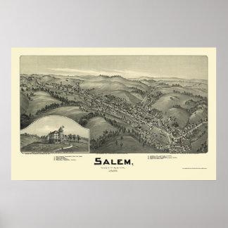 Salem, mapa panorámico de WV - 1899 Póster
